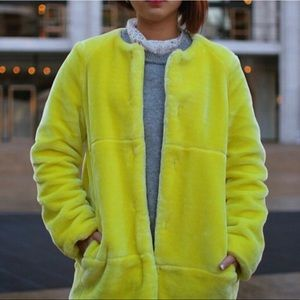 Fuzzy neon yellow coat